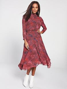 whistles-high-neck-abstract-animal-carlotta-dress-red