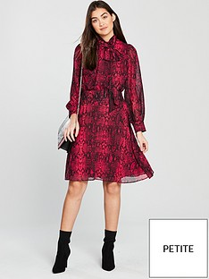 e950458d96 V by Very Petite Snake Print Pussybow Midi Dress - Red