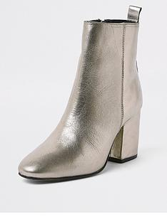 69ff76b328c0 River Island River Island Leather Heeled Ankle Boot - Gold