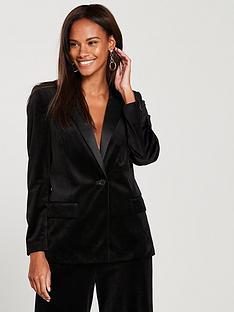 507affd06635aa V by Very Velvet Tux Suit Jacket - Black