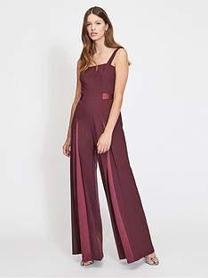 d9a87ee31e9b Miss Selfridge Satin Trim Wide Leg Jumpsuit - Burgundy