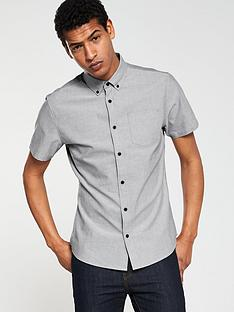 v-by-very-short-sleeved-button-down-oxford-shirt-grey