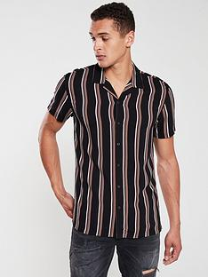 v-by-very-short-sleeved-dark-stripe-shirt-black