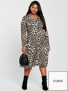 v-by-very-curve-animal-button-through-midi-dress-leopard-print