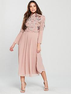 frock-and-frill-embelished-top-flute-sleeve-midaxi-dress-rose-smokenbsp