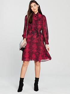 v-by-very-pussybow-midi-dress-snake-printed