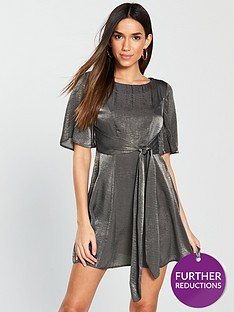 v-by-very-hammered-satin-tie-front-dress-greynbsp