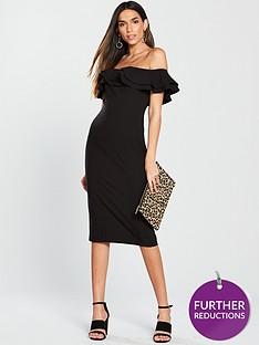 v-by-very-ruffle-bardot-bodyconnbspdress-black