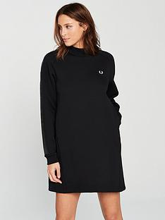 fred-perry-panelled-crew-neck-dress-black