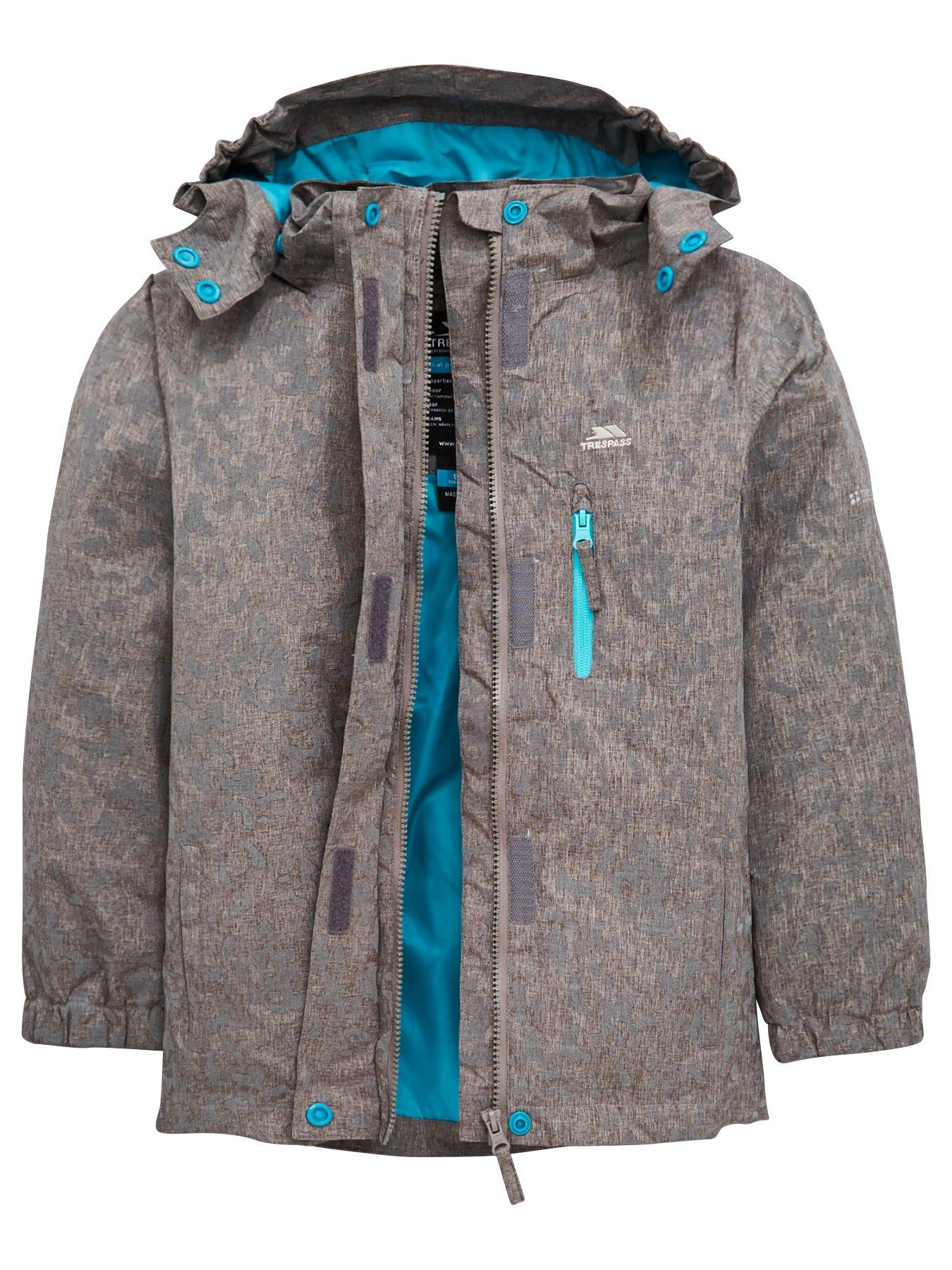 Trespass Childrens Zoey Waterproof Jacket with Removable Hood