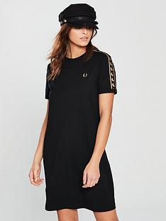 fred-perry-taped-ringer-t-shirt-dress-blacknbsp