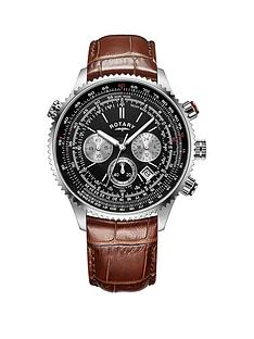 rotary-rotary-black-chronograph-dial-brown-leather-strap-mens-watch-and-cog-cufflink-gift-set