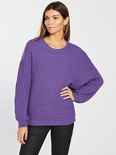 v-by-very-rib-detail-batwing-jumper-vibrant-purple