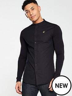 sik-silk-grandad-collar-long-sleeve-shirt-black