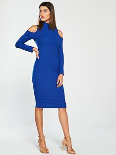 ad9cf26bacef V by Very Cold Shoulder Bodycon Dress - Electric Blue