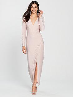 the-girl-code-jersey-lurex-maxi-wrap-dress-blush