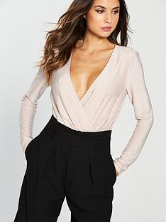 the-girl-code-jersey-lurex-drape-wrap-bodysuit-blush