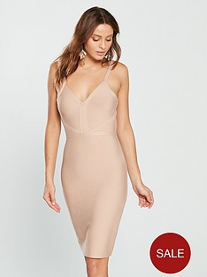 the-girl-code-plunge-bandage-dress-champagne