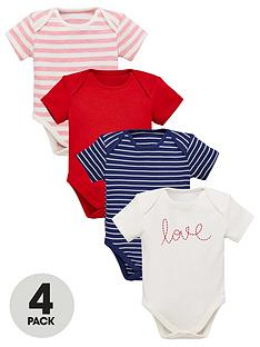 eea5a0e046 Mini V by Very Baby Girls 4 Pack Short Sleeved Bodysuits - Multi Coloured