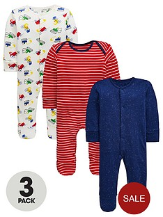 mini-v-by-very-baby-3-pack-stripe-and-truck-print-sleepsuitsnbsp--multi-coloured