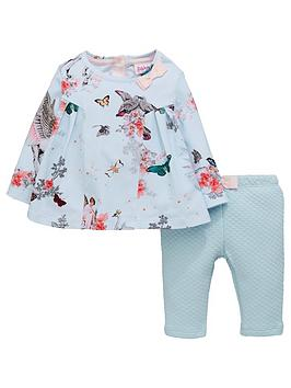ac2ce15252a29 Baker by Ted Baker Baby Girls 2 Piece Swing Top and Leggings Outfit - Light  Blue