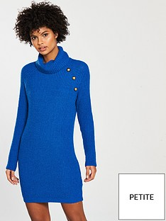 337856668dab65 V by Very Petite Button Roll Neck Knitted Jumper Dress - Blue