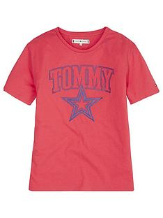 Tommy Hilfiger Girls Star Logo Short Sleeve T-Shirt - Pink 54f517065