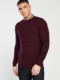 v-by-very-textured-stripe-knit-jumper-burgundy