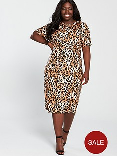 v-by-very-curve-twist-front-midi-dress-animal-print