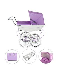 silver-cross-oberon-sparkle-purple-dolls-pram-4-piece-exclusive-bundle-with-optional-personalisation