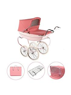 silver-cross-oberon-pink-dolls-pram-4-pieces-exclusive-bundle-personalised