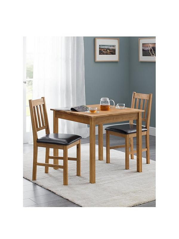 Julian Bowen Coxmoor 75 X 75 Cm Square Solid Oak Dining Table 2 Chairs Littlewoodsireland Ie