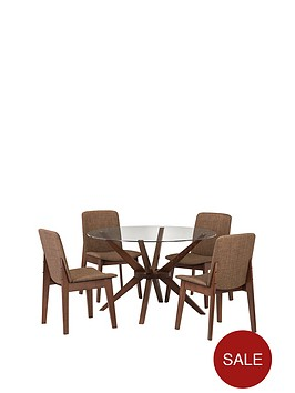 julian-bowen-chelsea-120-cm-round-glass-and-wood-dining-table-4-chairs