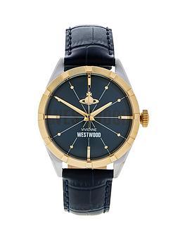 vivienne-westwood-mens-conduit-leather-croc-strap-watchnbsp--navy