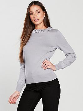 c2446306c5b3 Oasis Nina Cute Frill Knitted Jumper - Pale Grey | littlewoodsireland.ie