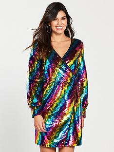 warehouse-disco-sequin-rainbow-wrap-dress--nbspmulti