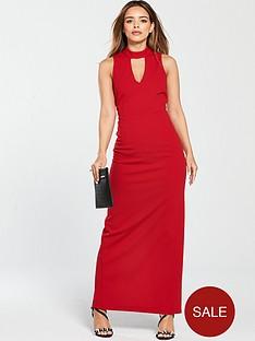 v-by-very-petite-high-neck-maxi-dress-rednbsp