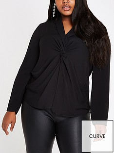 ri-plus-twist-front-blouse-black