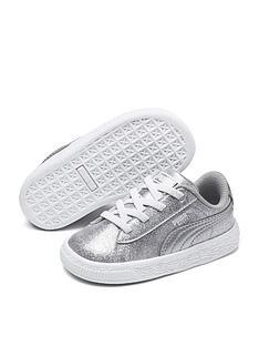 puma-basket-metallic-children-trainers-silverwhite