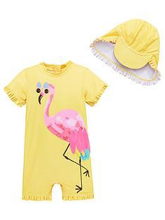 mini-v-by-very-girls-flamingo-shimmer-sunsafe-amp-hat-yellow