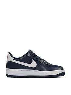 sports shoes 5a6f9 fbda6 Nike Air Force 1 Valentines Day Junior Trainers - Navy Pink