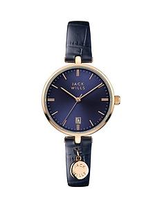 jack-wills-jack-wills-blue-with-rose-gold-detail-date-dial-and-charm-blue-leather-strap-ladies-watch