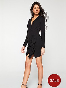 v-by-very-ruched-skirt-tux-dress-black