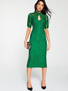 v-by-very-ruched-lace-pencil-dress-green
