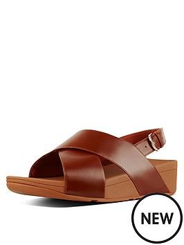 f9c30205d90c26 FitFlop Lulu Cross Back Leather Wedge Sandal Shoes - Caramel ...