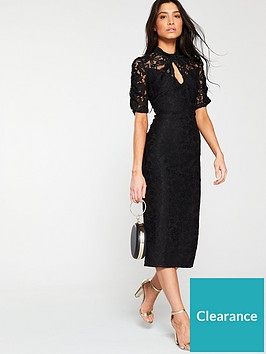 v-by-very-ruched-lace-pencil-dress-black