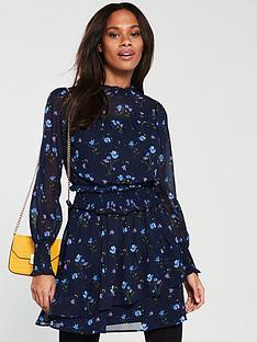 v-by-very-shirred-waist-tea-dress-navy-floral