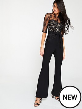 3ba487271740 V by Very Lace Top Jumpsuit - Navy
