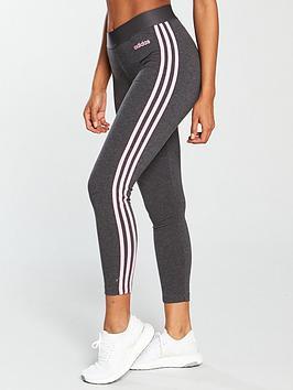 af67eeedd032f adidas Essentials 3 Stripe Tight - Dark Grey Heather ...
