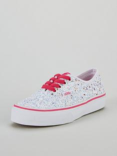 48d32151d7c0 Vans Glitter Authentic Junior Trainers - White Pink